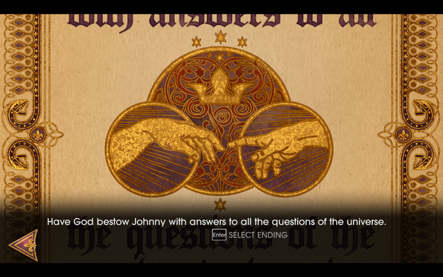 File:Gat out of Hell - Ending - Have God bestow Johnny with answers to all the questions of the universe.png