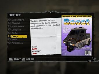 Quota - Suburbs Chop Shop list in Saints Row 2