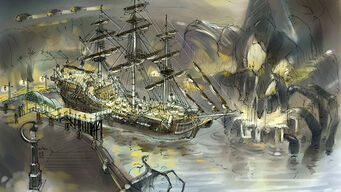 Concept Art of Pirate Ship Secret Area at the Stilwater Boardwalk in Saints Row 2