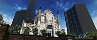 The Stilwater Memorial Church in The Anna Show cutscene in Saints Row 2