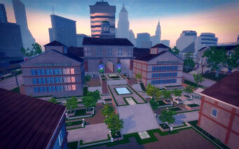 Amberbrook in Saints Row 2 - natural history museum from rooftop
