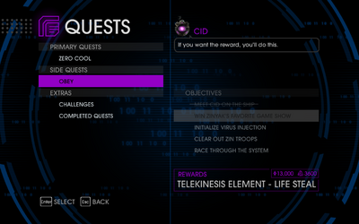 Quests Menu - Obey