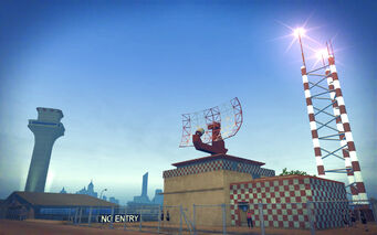 Wardill Airport in Saints Row 2 - radar dish