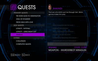 Quests Menu - Payback