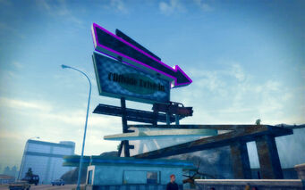 Pleasant View in Saints Row 2 - Cliffside Drive-in sign