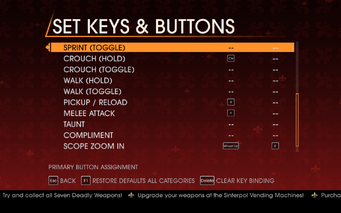 Saints Row Gat out of Hell - Main Menu - Options - Controls - Set Keys & Buttons - On Foot II