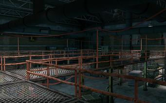 Guard Armory interior - upper walkway looking towards rear in Saints Row The Third