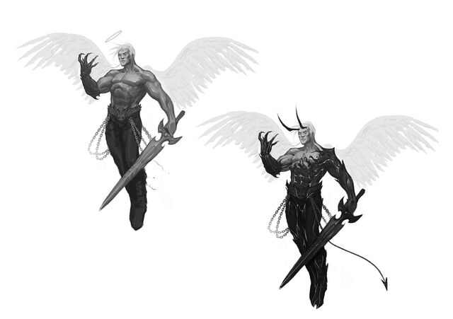 File:Johnny Gat Concept Art - Gat out of Hell Demonic look - two versions flying.jpg