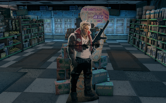 Steelport News interior - cardboard Saint in Saints Row The Third