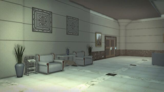 File:Heron Hotel - interior lobby with view of closed door on opposite side of building.jpg