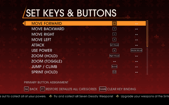 Saints Row Gat out of Hell - Main Menu - Options - Controls - Set Keys & Buttons - On Foot