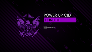 Power Up CID mission end screen