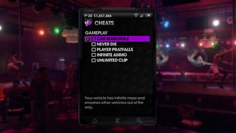 Gameplay Cheats menu in Saints Row The Third