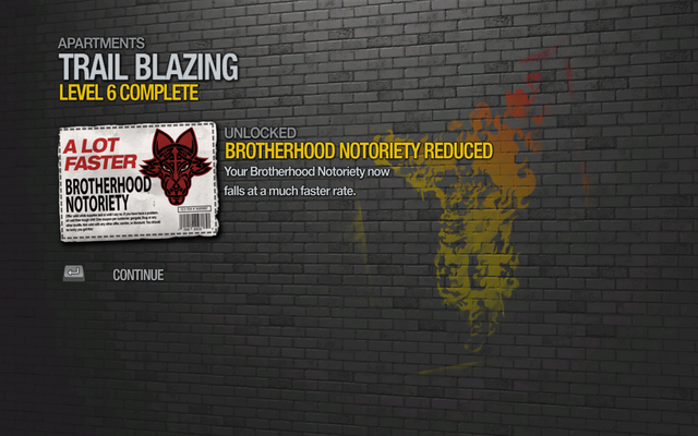 File:Brotherhood Notoriety Reduced unlocked by Trail Blazing Level 6 in Saints Row 2.png