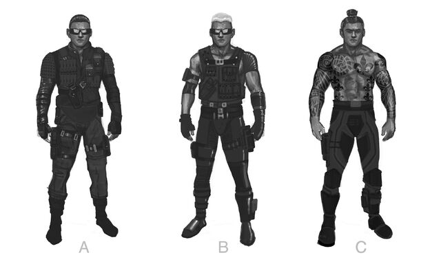 File:Johnny Gat Concept Art - Super Homie - three outfits.jpg