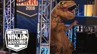 A T-Rex Dinosaur Crashes The American Ninja Warrior Course - American Ninja Warrior
