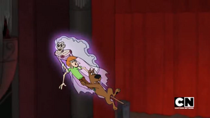 Ghost of the Prima Donna carries Shag and Scoob