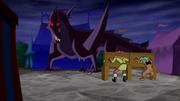 Glasburgh Dragon w pillory-trapped Shag and Scoob