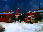Terence, Bertie, Trevor, Annie, and Clarabel celebrating christmas