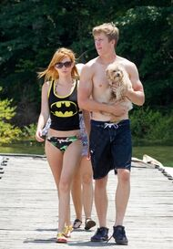 Bella-thorne-Bristan-batman-top-over-bikini-with-Kingston