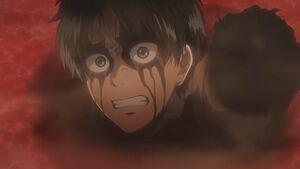 Eren swearing revenge on the Titans