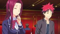 Sōma and Ryōko enjoying dinner