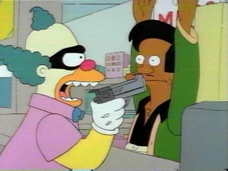 File:SideShow Bob dressed up like Krusty robbing Kwiki Mart.jpg