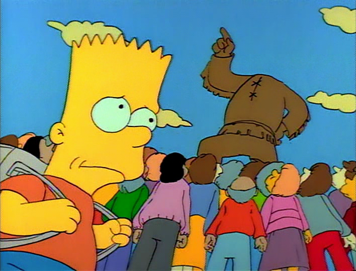 Image result for bart cuts off statue head