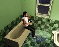 Sim eating in the bathtub
