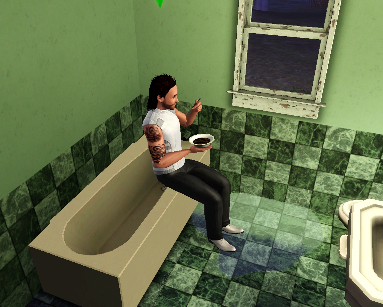 Sim eating while sitting on the bathtub  Hunger The Sims Wiki Fandom  powered by Wikia. Sim Baby Toilet