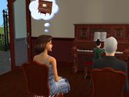 Ann watching Delilah playing piano