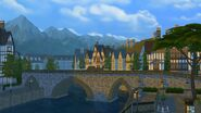 Windenburg bridge and mountains