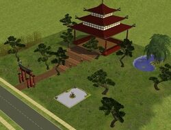 The Sims 2 Lot Pagoda in the Shadows
