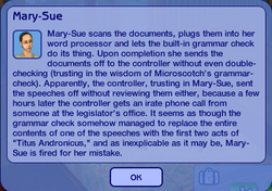 Mary sue chance card fired