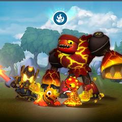 Los skylanders de fuego de Giants en la pantalla de carga de Skylanders: Universe