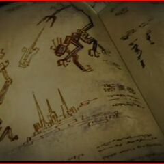 An ancient scroll depicting a Shadow Clan member attacking what might be a Dark Bain.