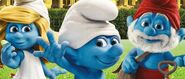 Clumsy, Smurfette and Papa