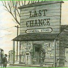 Primary Image: The Baudelaires in front of the Last Chance General Store