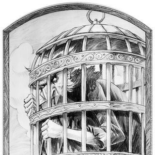 Count Olaf locked in a bird cage