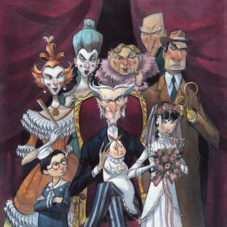 With Count Olaf's theatre troupe.