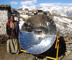 File:Parabolic solar cooker used in high mountain villages in Nepal, 2-11-13.jpg