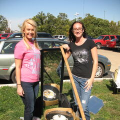 Corissa and Stacey repurposed a small grill and used a wall mirror as a reflector.