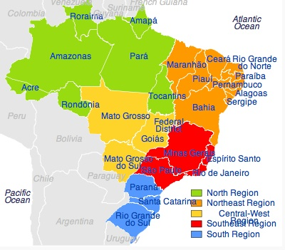 States of Brazil map