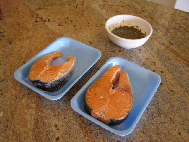 File:Preparing the salmon for solar cooking.JPG