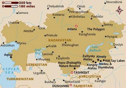 Kazakhstan map, 8-17-16