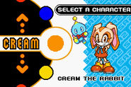 Cream character select Sonic Advance 2