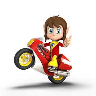 Alex Kid como se ve en Sonic & All-Stars Racing Transformed.