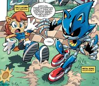 Metal Sonic About to Attack Sally