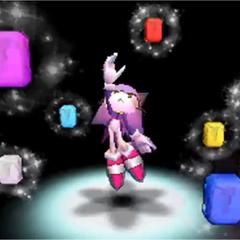 Blaze utilizando las Sol Emeralds para transformarse en Burning Blaze en <i>Sonic Rush</i>.