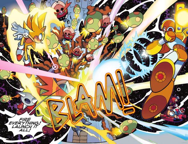File:Super Sonic and Super Armor Mega Man vs Egg Wily Machine X.png